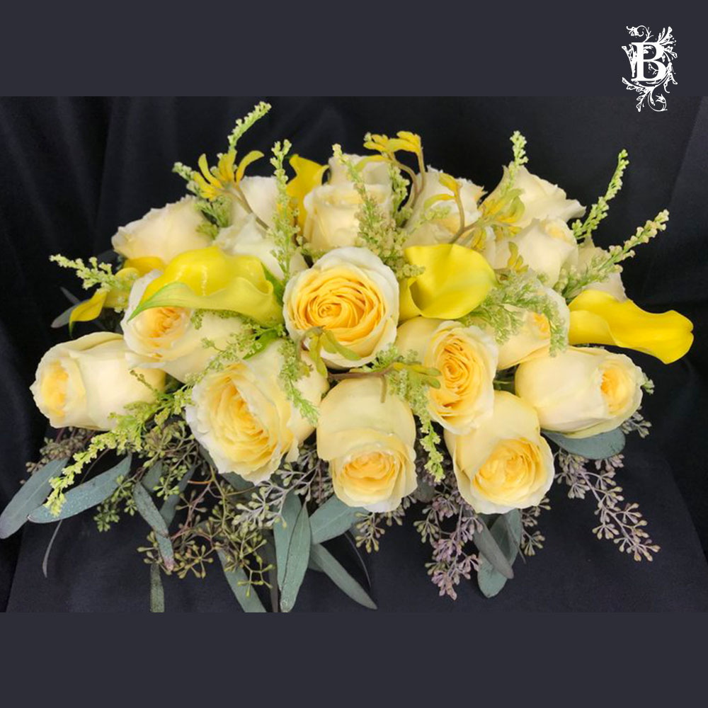 Shades Of Yellow Rose Centerpiece Flower Arrangement Bedford