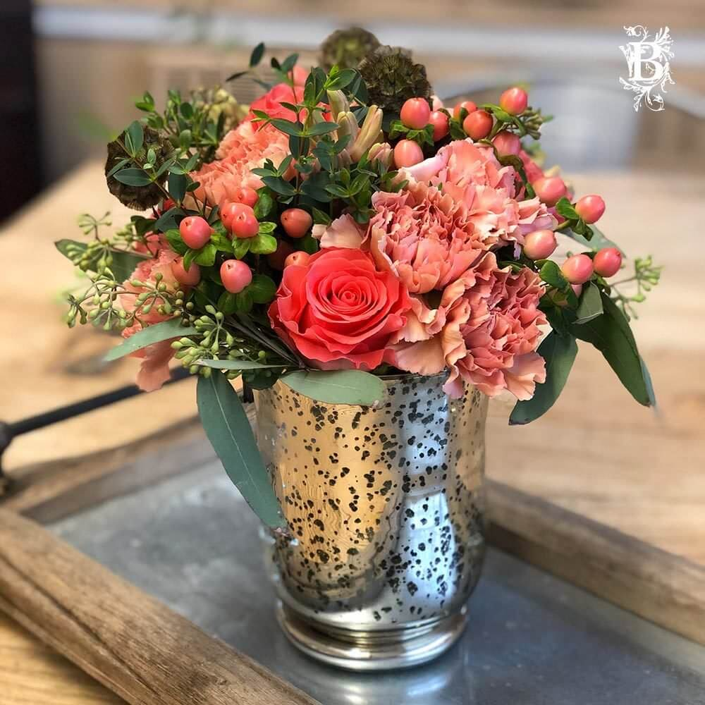 Valentine S Day Floral Arrangement Color Of The Year Coral Flowers