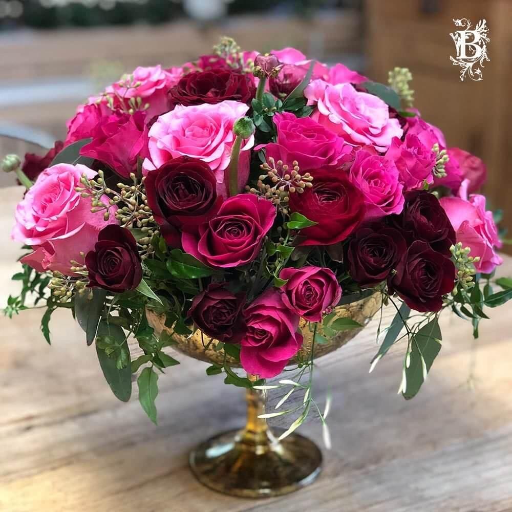 Valentine S Day Flower Arrangement Gold Compote Flowers