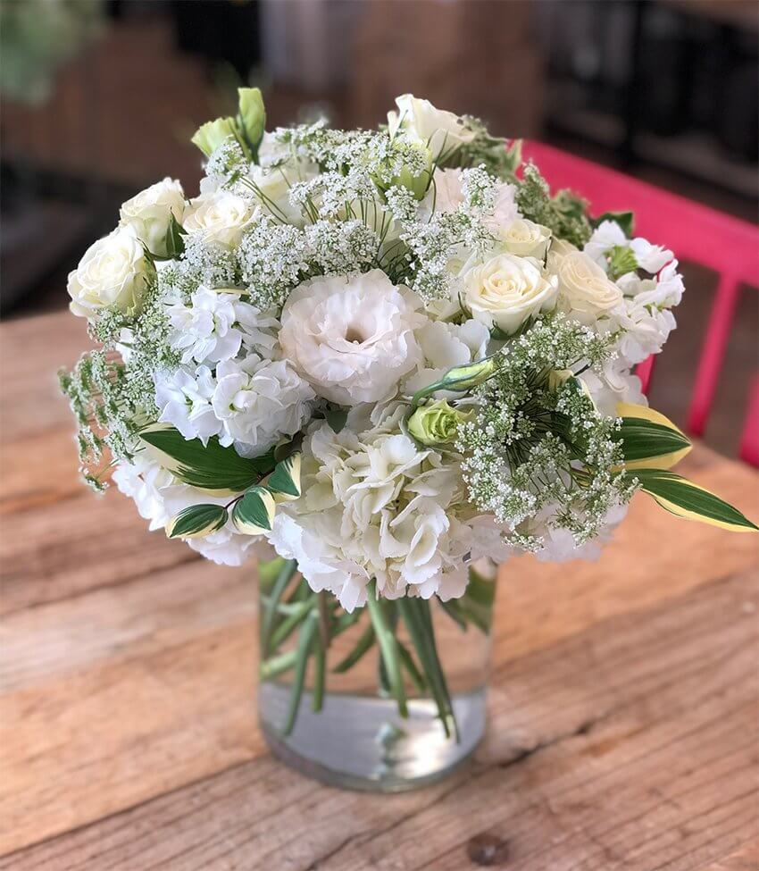 Low and Lush Hydrangea, Solomons Seal, Queen Anne's Lace, Lisianthus,  Snowflake Spray Roses