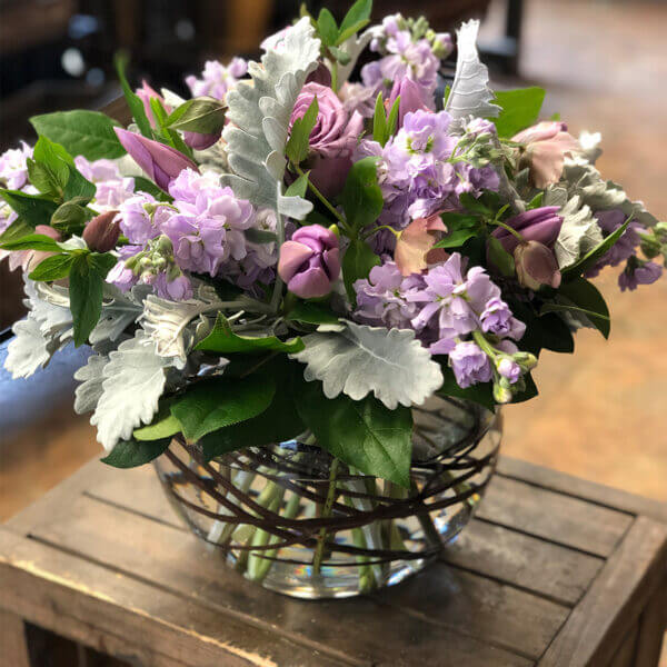 White and Purple Flower Centerpiece